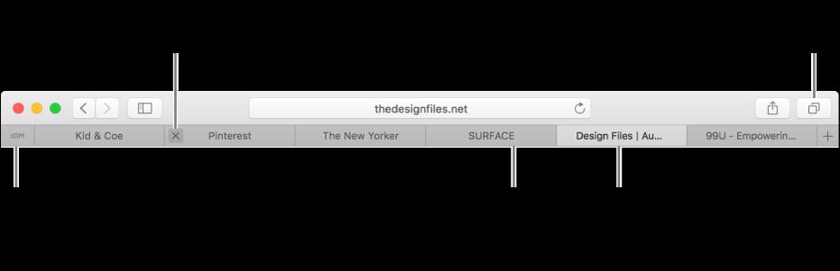หน้าต่าง Safari ที่มีแถบต่างๆ