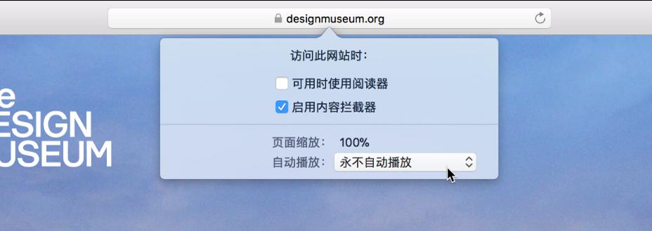 智能搜索栏中的菜单,显示当前网站的设置。