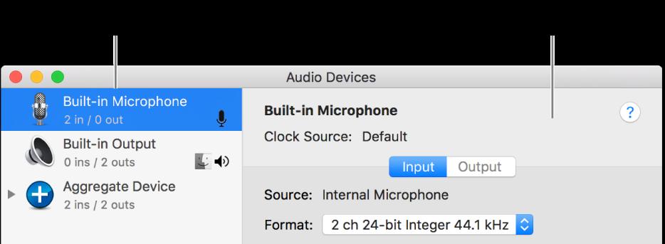 The Audio Devices window.