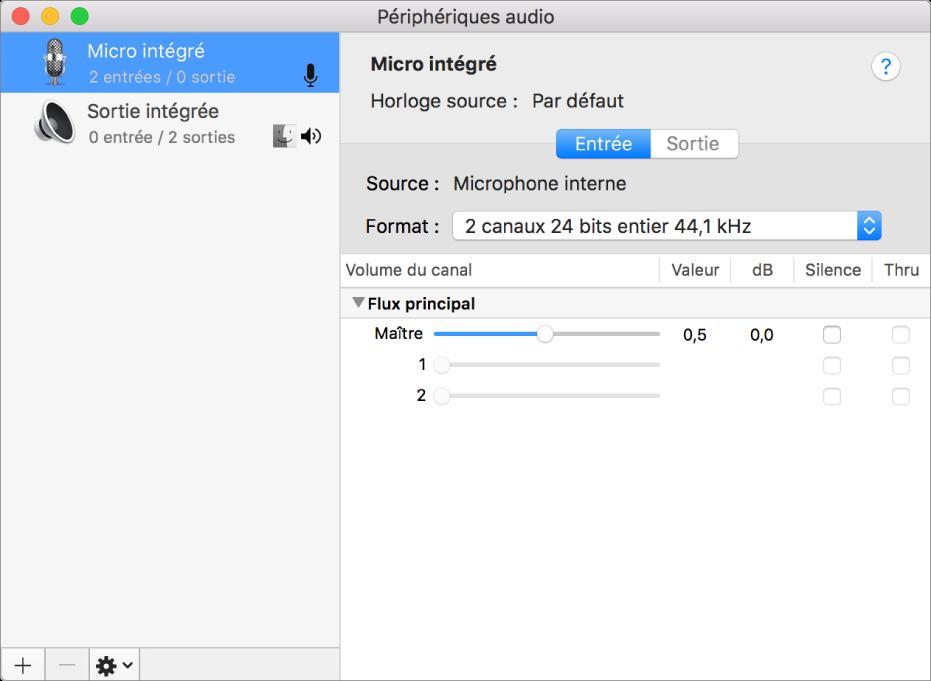 La fenêtre Configuration audio et MIDI.