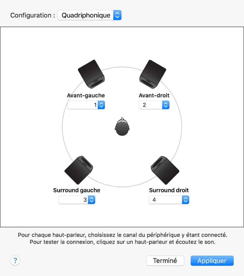 La zone de dialogue configurer les haut-parleurs affichant une configuration de haut-parleurs quadriphoniques.