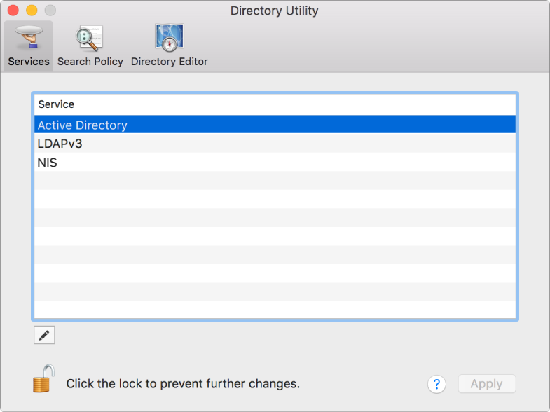 The Directory Utility window showing the Services pane.