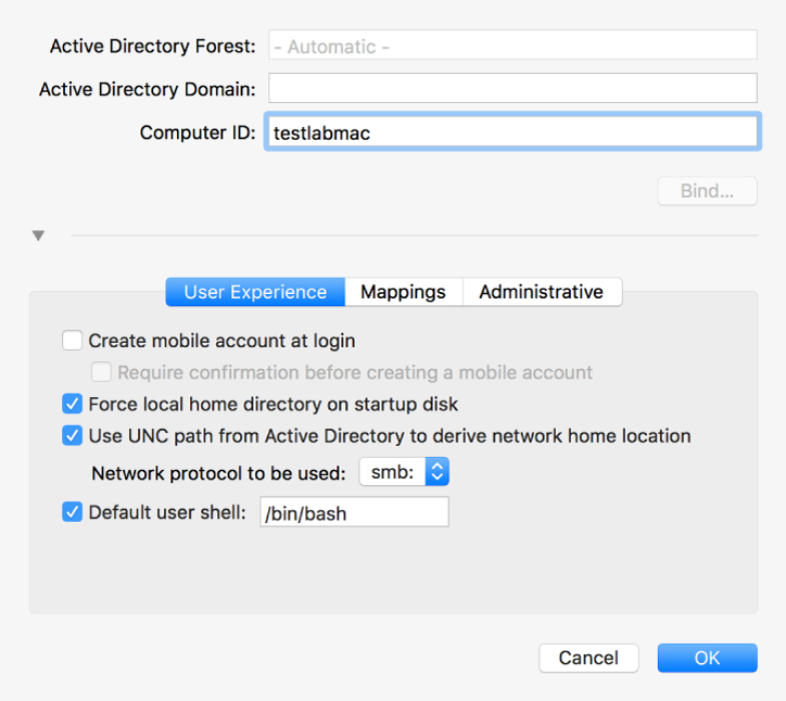The Active Directory configuration dialog with the options section expanded.