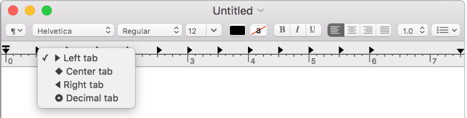 The ruler showing the tab stop options.