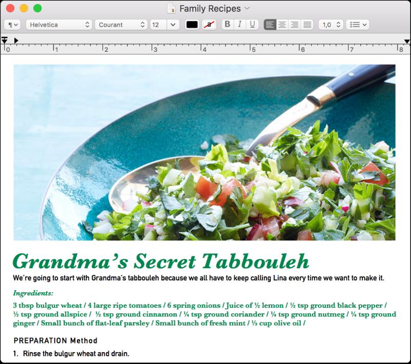 Fichier RTF ouvert dans la fenêtre TextEdit: pour le texte du titre en vert, la taille de la police est plus grande, et pour le corps du texte en noir, elle est plus petite.