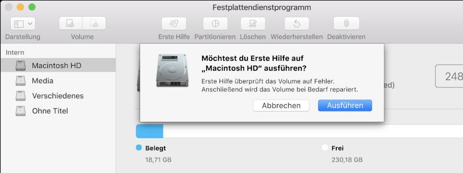 """Die Taste """"Erste Hilfe"""" im Festplattendienstprogramm."""