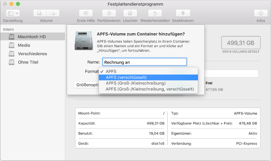 """Die Option """"APFS (Verschlüsselt)"""" im Menü """"Format""""."""
