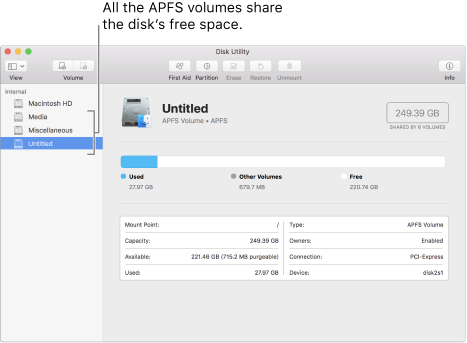 The Disk Utility window showing an APFS container.