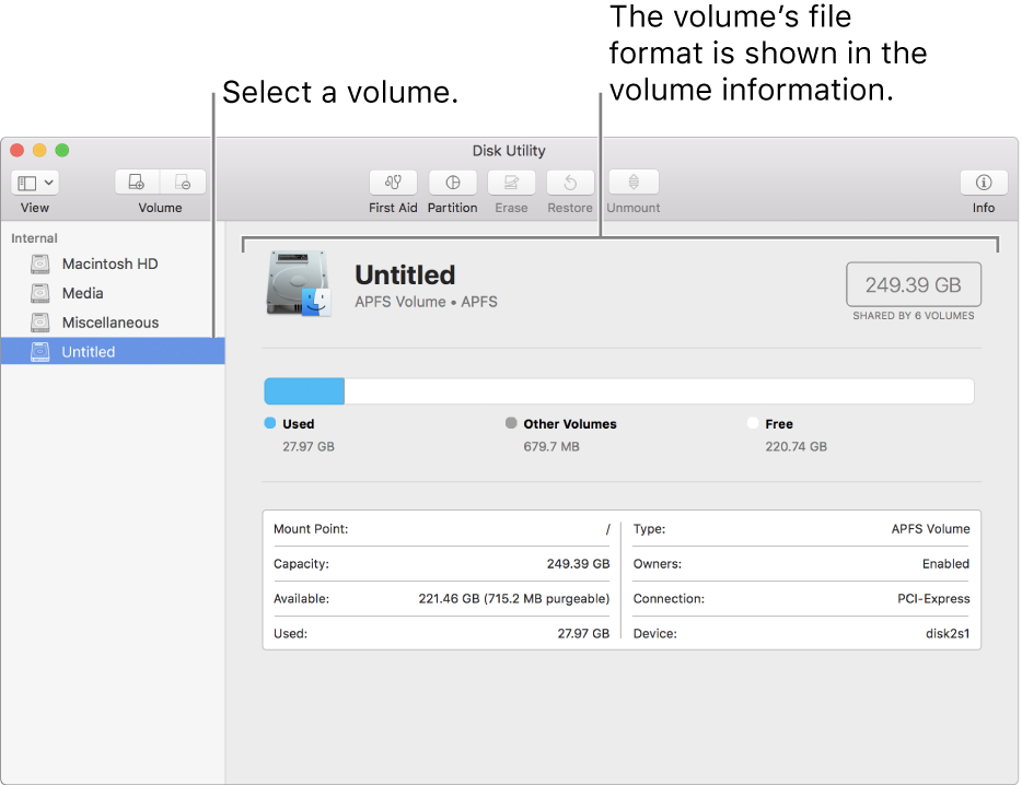 The Disk Utility window showing a Mac OS Extended volume.