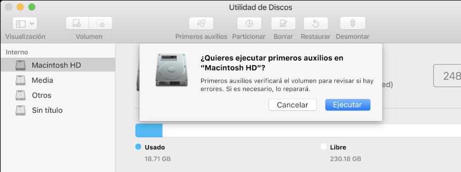 """El diálogo """"Primeros auxilios"""" en la barra de herramientas de Utilidad de Discos."""