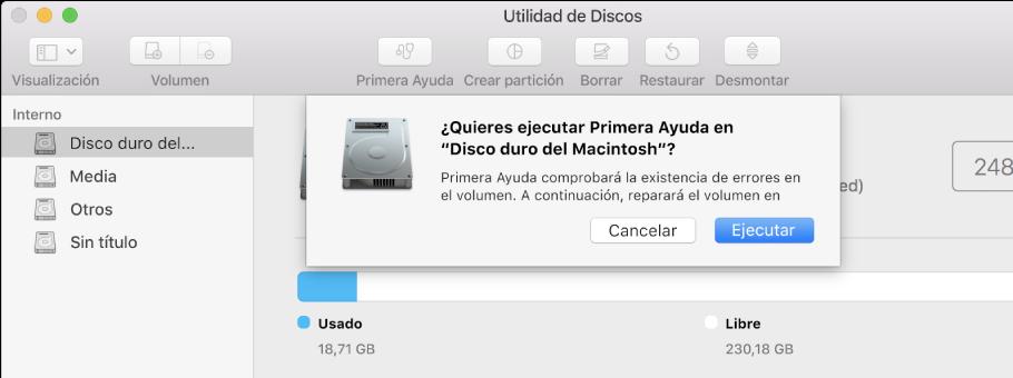 """Cuadro de diálogo """"Primera Ayuda"""" en la barra de herramientas de Utilidad de Discos"""