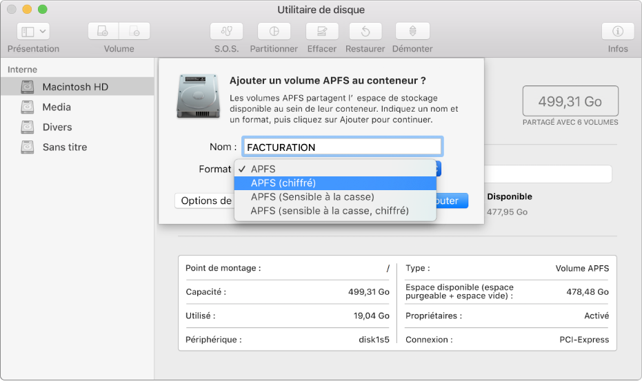 L'option APFS (chiffré) dans le menu Format.