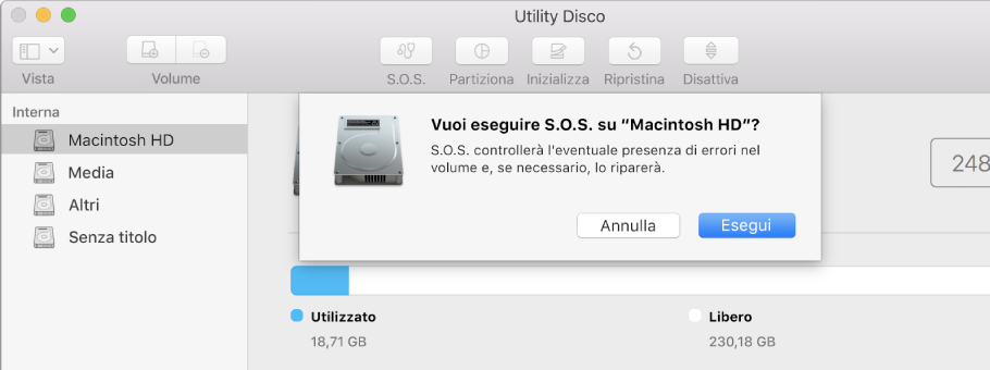 Finestra di dialogo S.O.S. nella barra degli strumenti di Utility Disco.