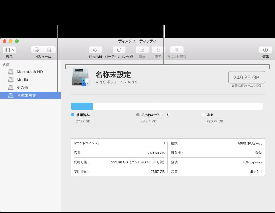 「ディスクユーティリティ」ウインドウ。MacOS拡張ボリュームが表示されています。