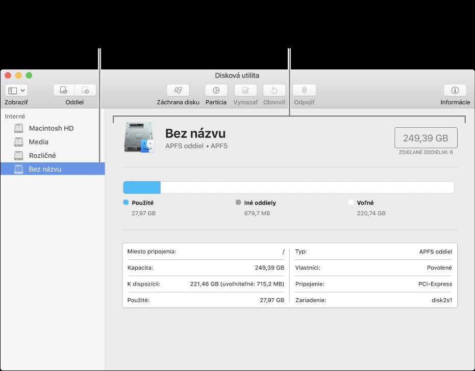 Okno Diskovej utility zobrazujúce oddiel so súborovým systémom MacOSExtended.