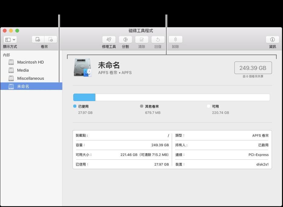 「磁碟工具程式」視窗,顯示「Mac OS 擴充格式」卷宗。