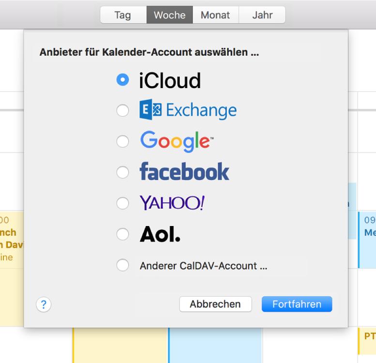 """Ein Fenster """"Kalender"""" mit dem Bereich """"Account hinzufügen"""""""