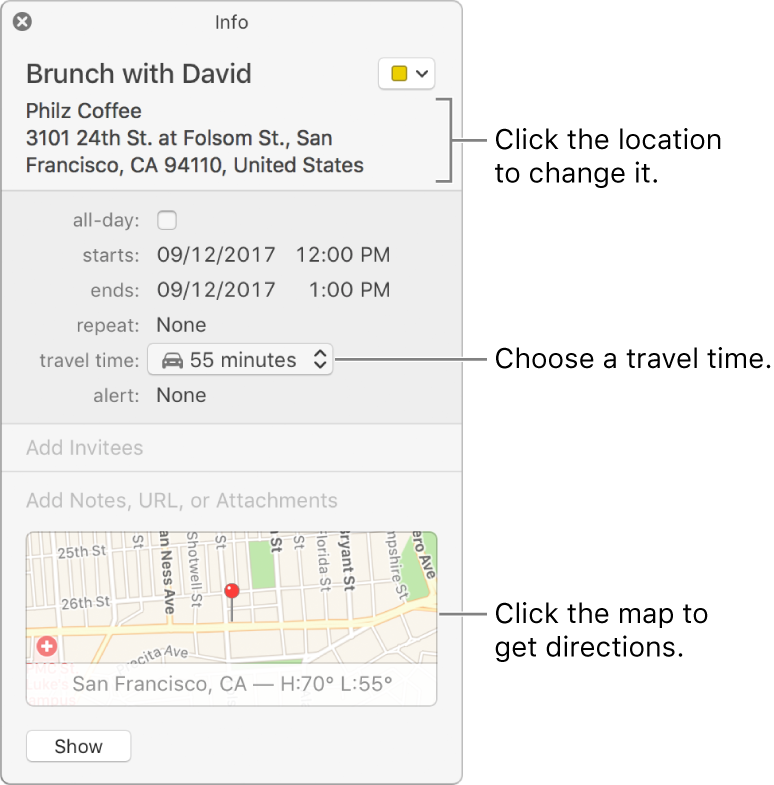 add location and travel time to events in calendar on mac apple