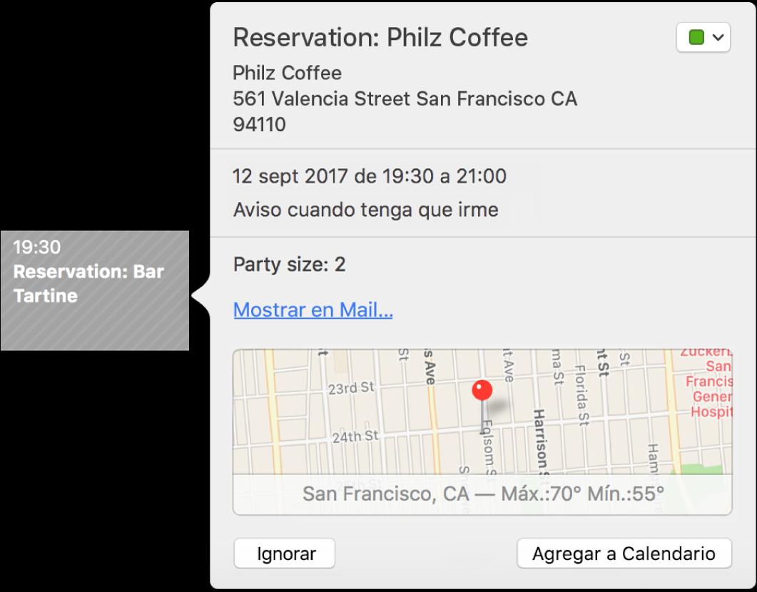 La ventana de eventos de Calendario de un evento que se encontró en una app, como Mail.