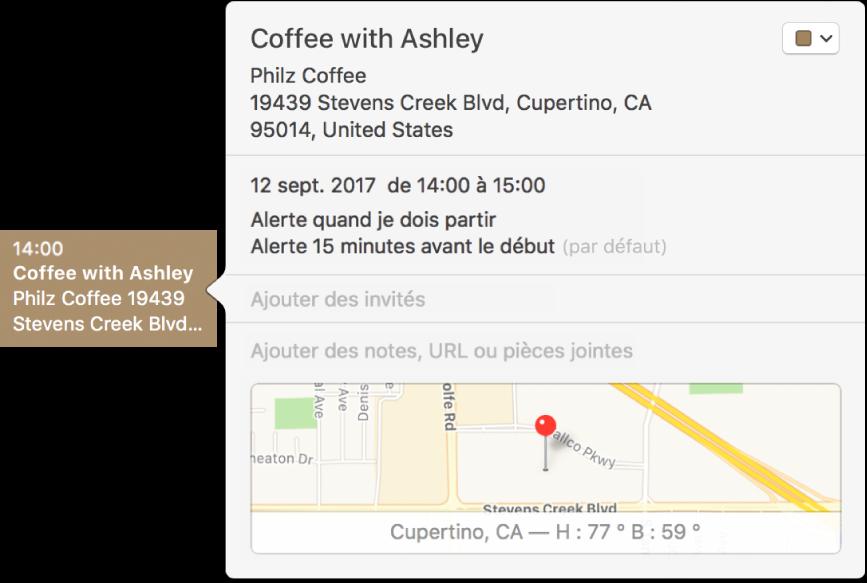 La fenêtre d'informations d'un événement, contenant le nom et l'adresse du lieu, ainsi qu'un petit plan.
