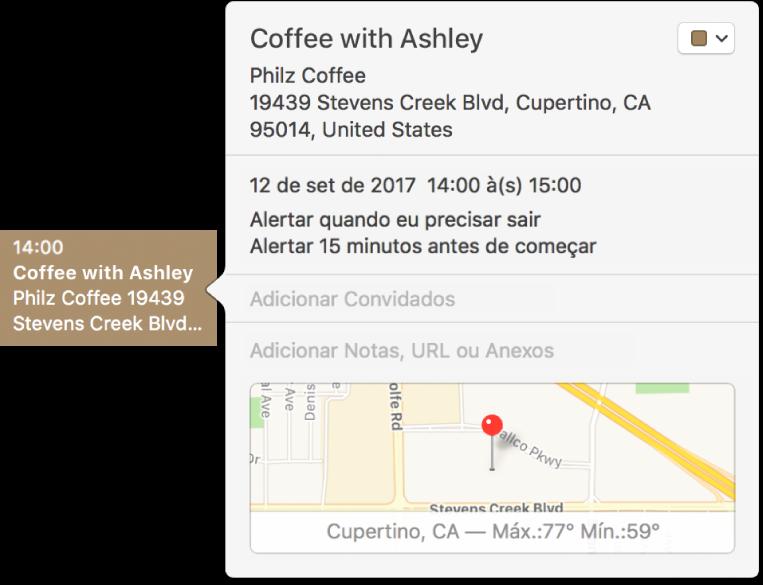 Janela de informações de um evento mostrando o nome e o endereço da localização e um mapa pequeno.