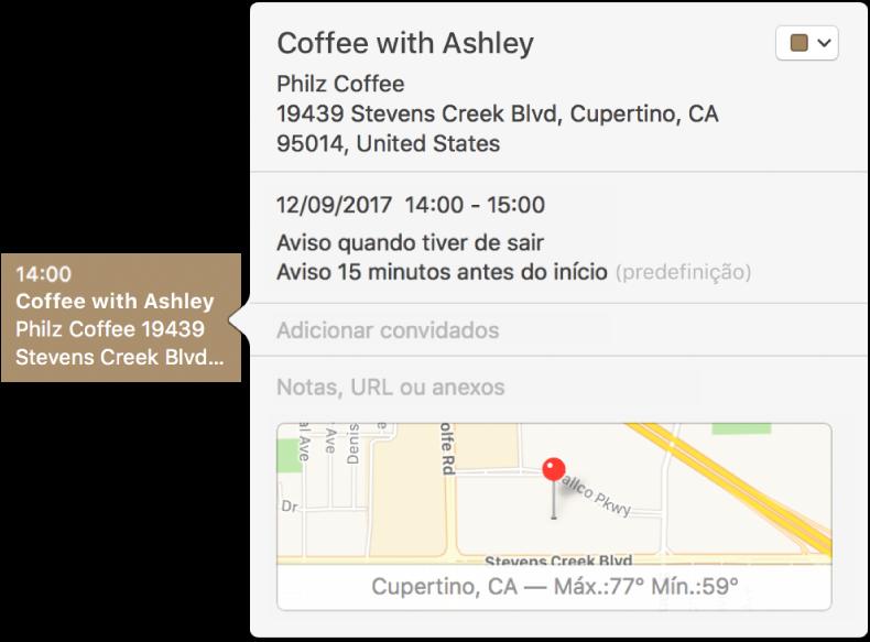 A janela de informação de evento a mostrar o nome do local, a morada e um mapa pequeno.