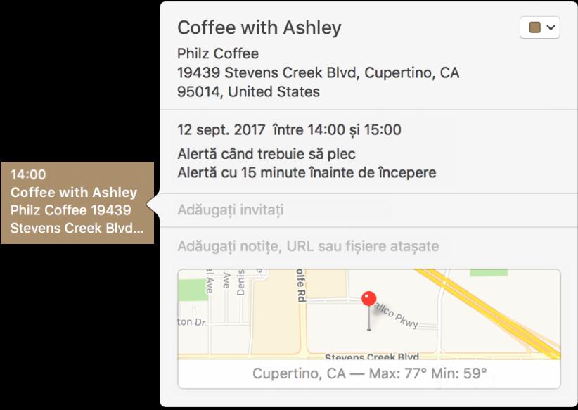 Fereastră de informații pentru un eveniment cu numele locului, adresa și o hartă de dimensiuni mici.