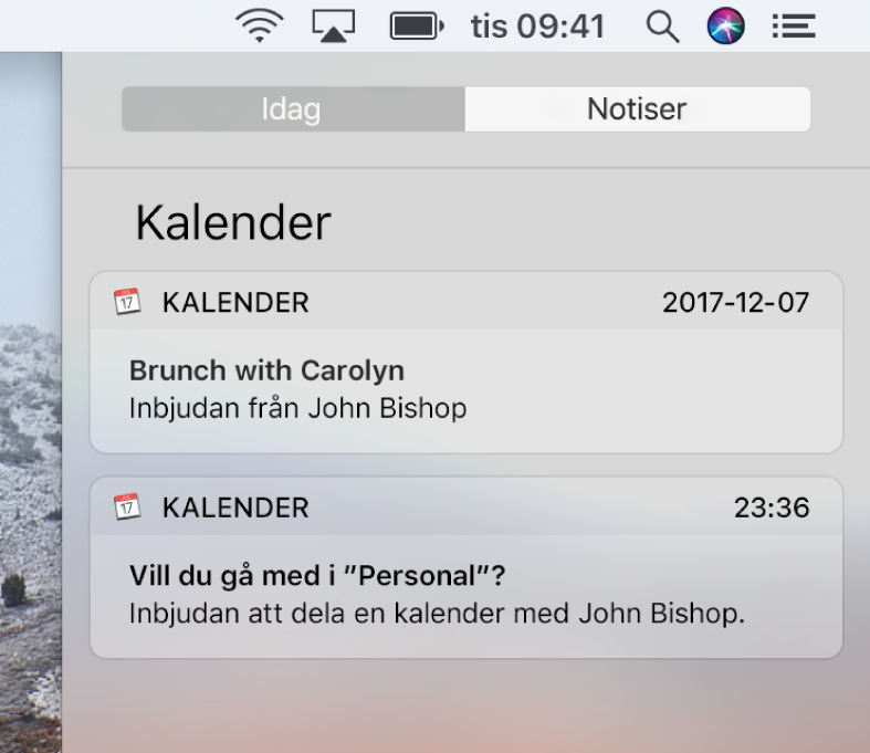 Notis om kalenderaktivitet och notis om delad kalender i Notiscenter