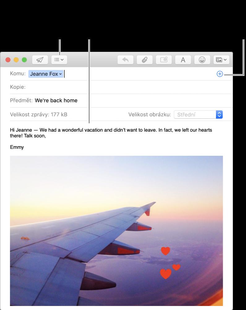 Okno nové zprávy soznačeným tlačítkem pole záhlaví, tlačítkem Přidat vpoli adresy, které slouží kpřidávání osob zKontaktů, asobrázkem sanotacemi vtěle zprávy.