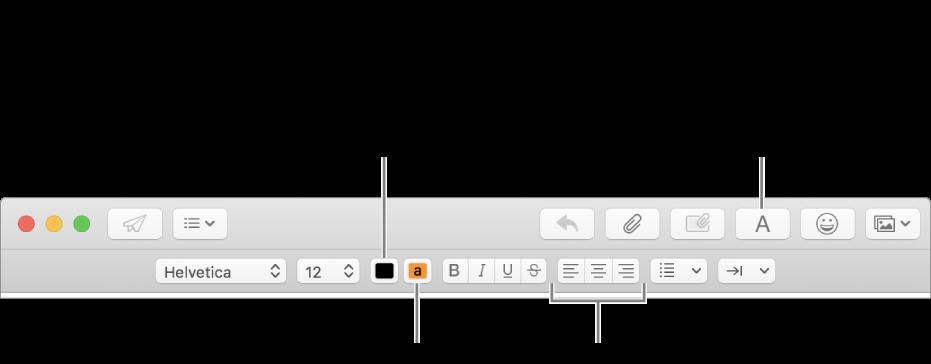 Η γραμμή εργαλείων και η γραμμή μορφοποίησης σε ένα παράθυρο νέου μηνύματος υποδεικνύουν το χρώμα κειμένου, το χρώμα φόντου κειμένου και τα κουμπιά στοίχισης κειμένου.