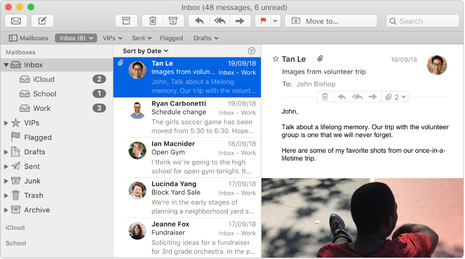 The sidebar in the Mail window showing inboxes for iCloud, school and work accounts.