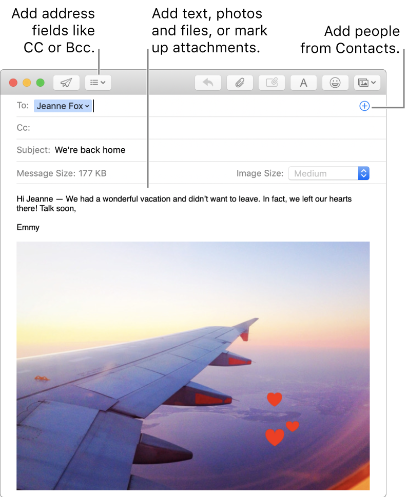 A new message window indicating the Header Fields button, the Add button in an address field for adding people from Contacts, and showing a marked up image in the message body.