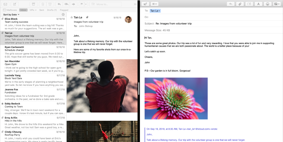 The message list side by side with a compose window in Split View.