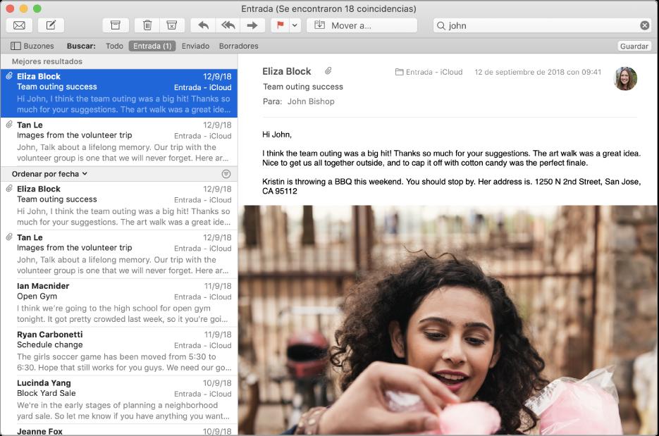 """La ventana de Mail con """"juan"""" en el campo de búsqueda y """"Mejores resultados"""" en la parte superior de los resultados de la búsqueda en la lista de mensajes."""