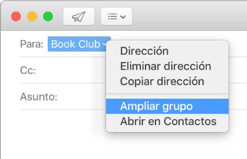 """Un correo mostrando un grupo en el campo Para y el menú desplegable mostrando el comando """"Ampliar grupo""""."""