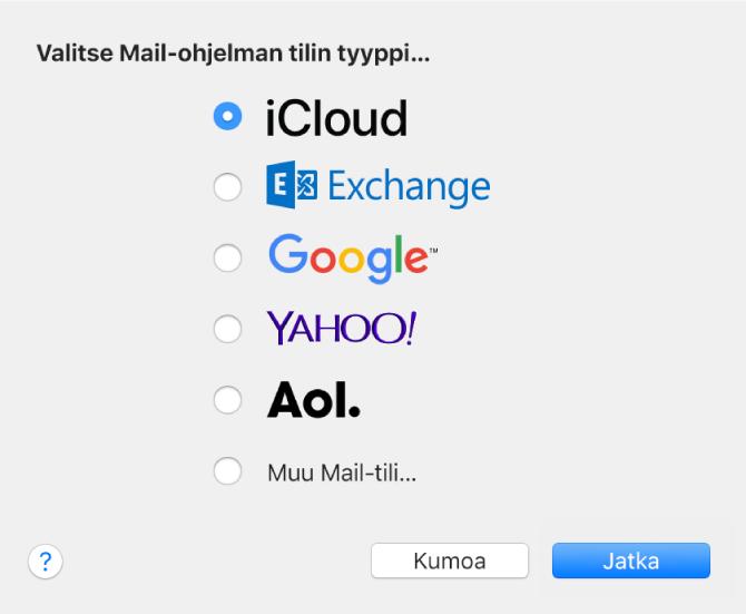 Valintaikkuna, jossa valitaan sähköpostitilin tyyppi. Näkyvissä vaihtoehdot iCloud, Exchange, Google, Yahoo!, AOL ja Muu Mail-tili.