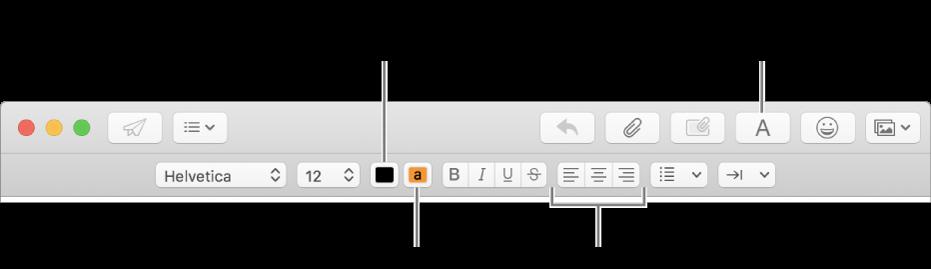 Uusi viesti -ikkunan työkalupalkki ja muotoilupalkki, joissa näytetään tekstin värin, taustavärin ja tasaamisen painikkeet.