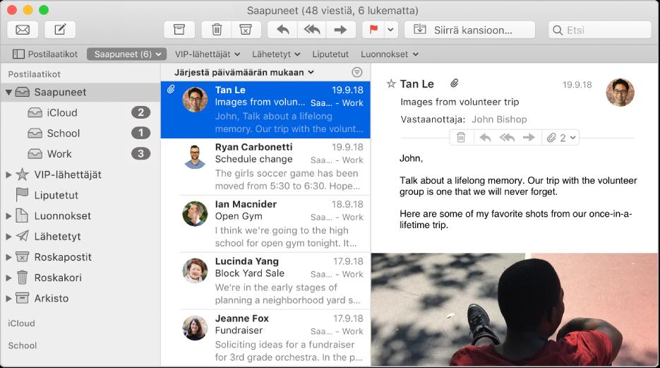 Mail-ikkunan sivupalkki, jossa näkyvät iCloudin, oppilaitoksen ja työpaikan tilien Saapuneet-postilaatikot.