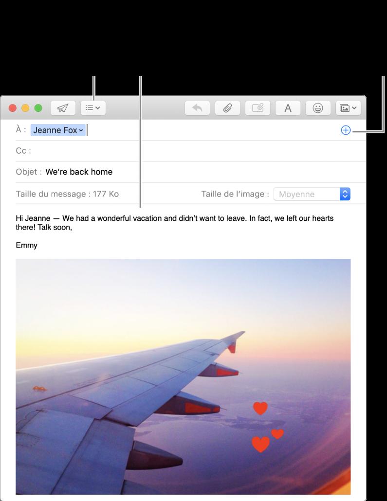 Fenêtre de nouveau message indiquant le bouton Champs d'en-tête, le bouton Ajouter dans un champ d'adresse (pour ajouter des personnes à partir de Contacts) et une image annotée dans le corps du message.