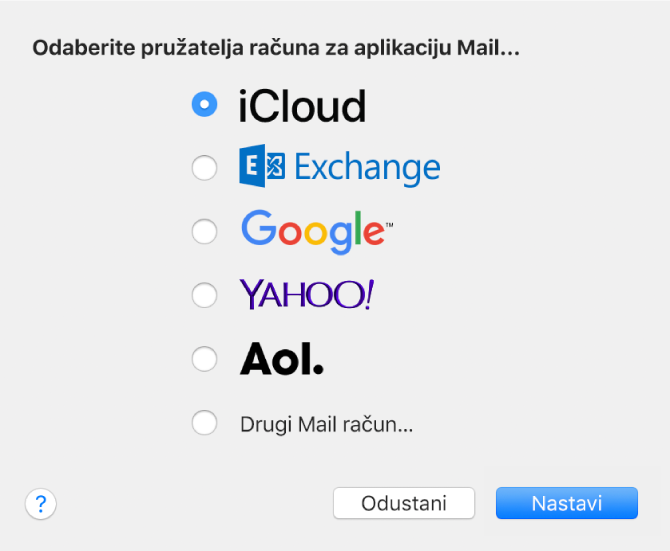 Dijaloški okvir za odabir vrste e-mail računa s prikazom opcija iCloud, Exchange, Google, Yahoo!, AOL, te Drugi Mail račun.