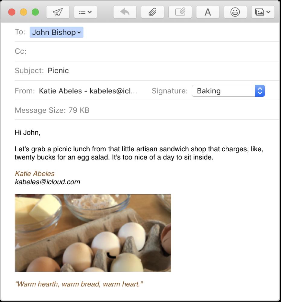 Egy szerkesztés alatt álló e-mail, egy aláírással, mely képet és formázott szöveget is tartalmaz.