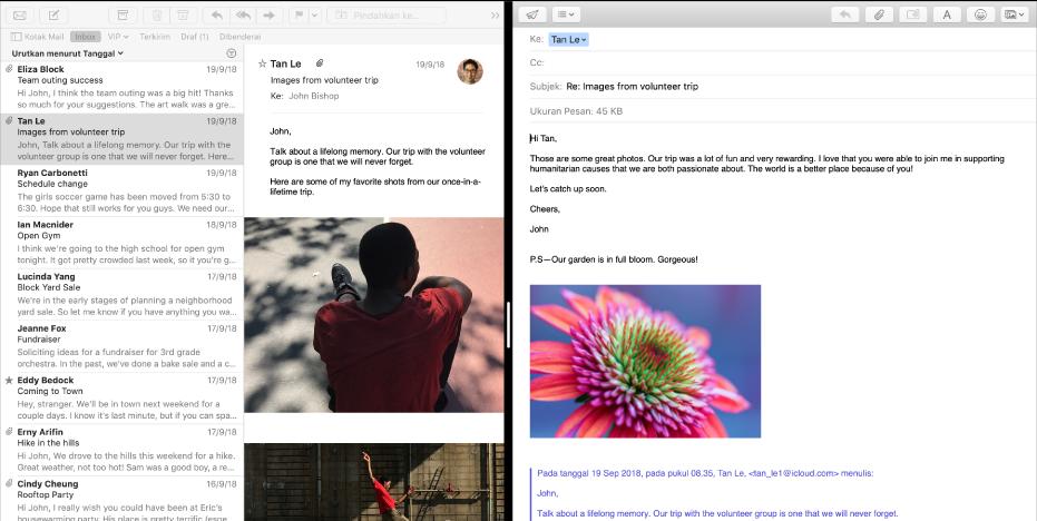 Daftar pesan berdampingan dengan jendela penulisan dalam Split View.