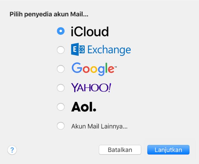 Dialog untuk memilih jenis akun email, menampilkan iCloud, Exchange, Google, Yahoo!, AOL, dan Akun Mail Lainnya.