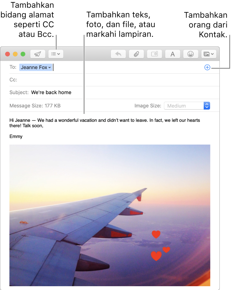 Jendela pesan baru berisi tombol Bidang Header, tombol Tambah di bidang alamat untuk menambahkan orang dari Kontak, dan menampilkan gambar yang telah diubah di isi pesan.