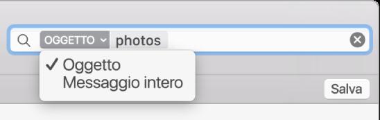 Fai clic sulla freccia in un filtro di ricerca per modificare il filtro.