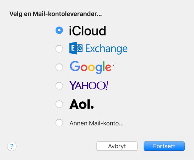 Dialogruten for å velge en e-postkontotype, som viser iCloud, Exchange, Google, Yahoo!, AOL og Annen e-postkonto.