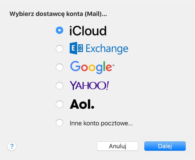 Okno dialogowe zprośbą owybranie typu konta email, zawierające pozycje iCloud, Exchange, Google, Yahoo, AOL oraz Inne konto pocztowe.