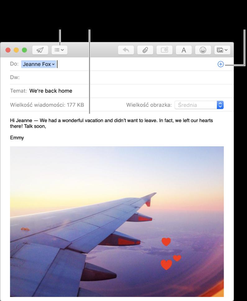 Okno nowej wiadomości zprzyciskiem Pola nagłówka, przycisk Dodaj wpolu adresowym, który służy do dodawania osób zKontaktów, oraz oznaczony obrazek wczęści głównej wiadomości.