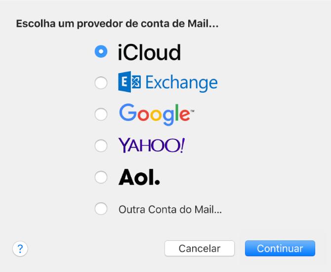 A caixa de diálogo para escolher um tipo de conta de e‑mail mostrando as opções iCloud, Exchange, Google, Yahoo!, AOL e Outra Conta de E‑mails.