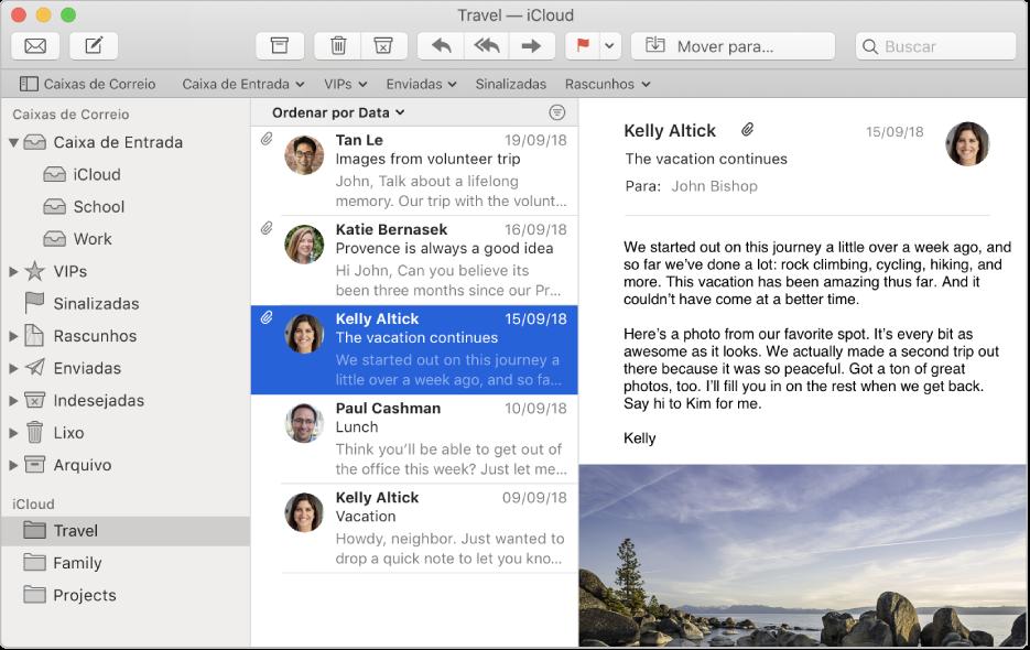 Barra lateral na janela do Mail mostrando várias caixas de correio de uma conta do iCloud.